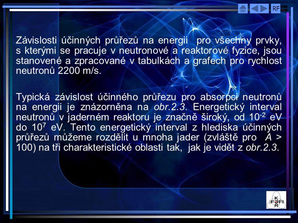 Závislosti účinných průřezů na energii pro všechny prvky, s kterými se pracuje v neutronové a reaktorové fyzice, jsou stanovené a zpracované v tabulkách a grafech pro rychlost neutronů 2200 m/s.