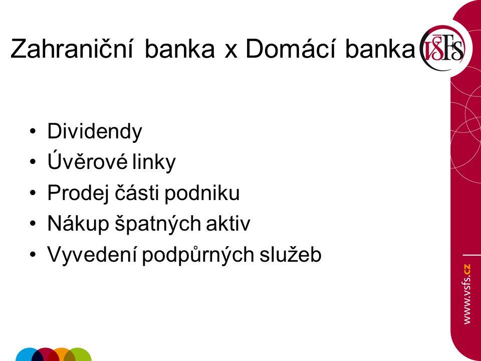 Zahraniční banka x Domácí banka