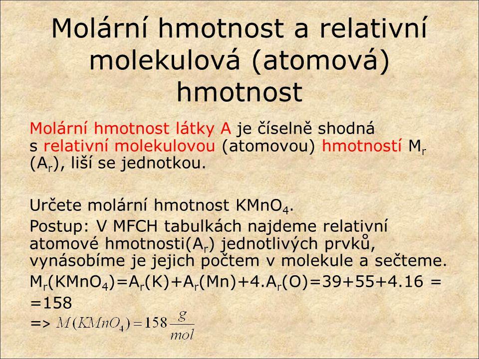Molární hmotnost a relativní molekulová (atomová) hmotnost