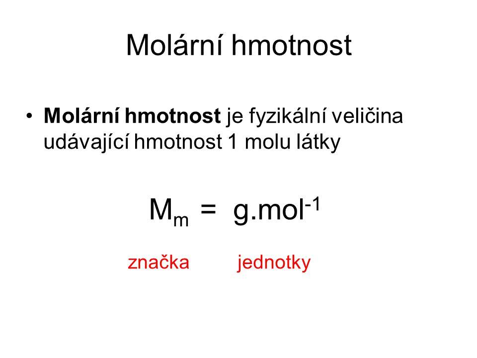Molární hmotnost Mm = g.mol-1 značka jednotky