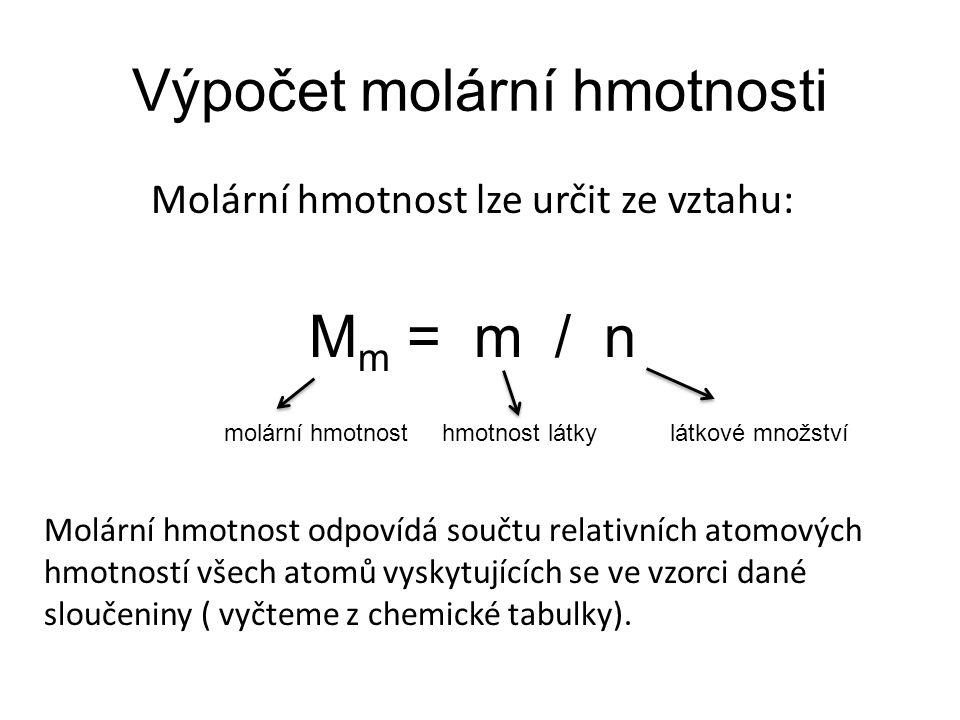 Výpočet molární hmotnosti
