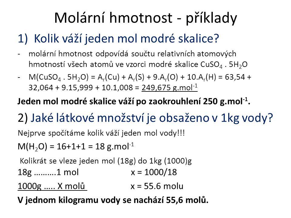 Molární hmotnost - příklady
