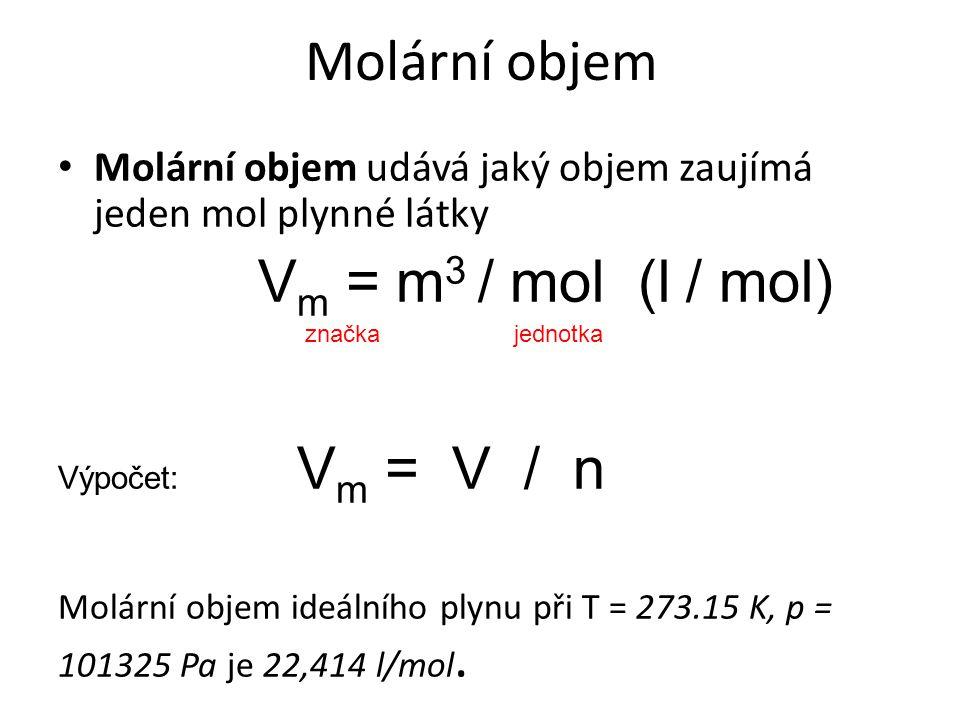 Molární objem Vm = m3 / mol (l / mol)