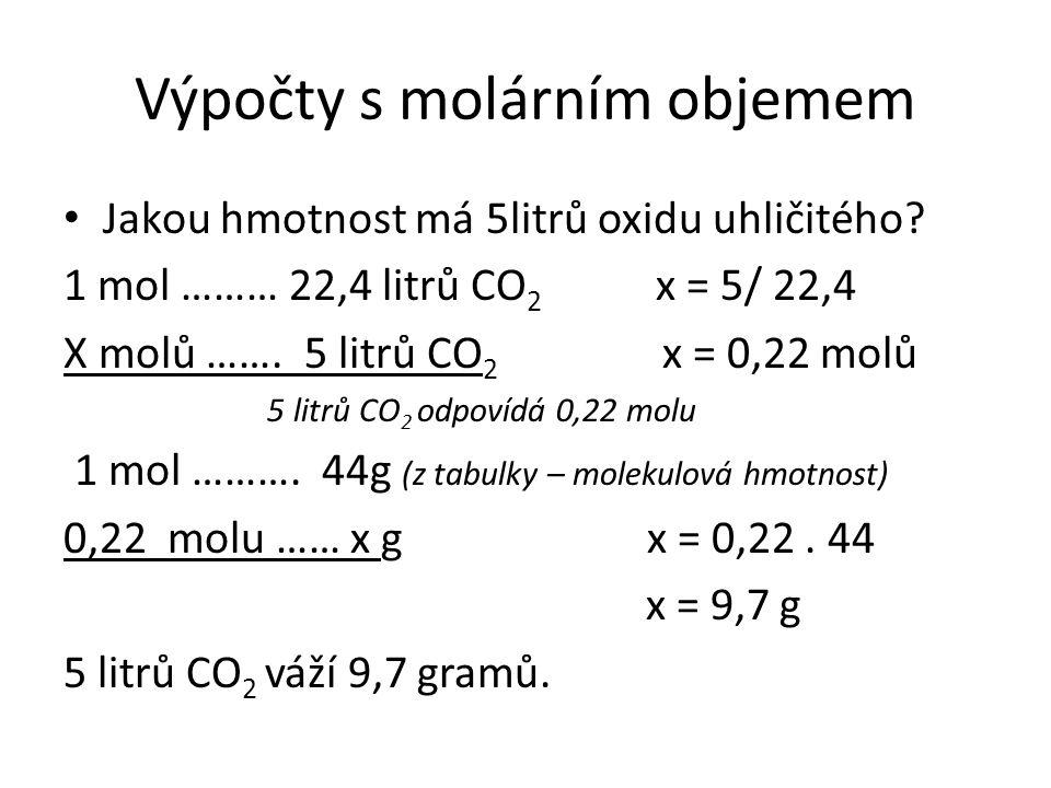 Výpočty s molárním objemem