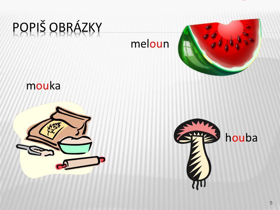 Popiš obrázky meloun mouka houba