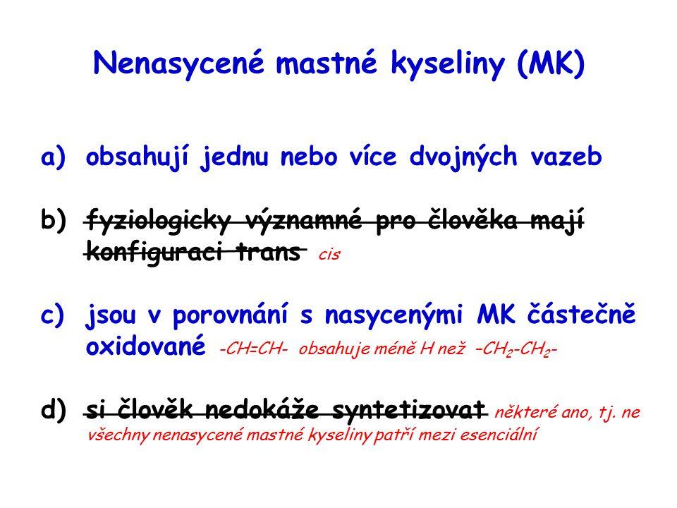 Nenasycené mastné kyseliny (MK)
