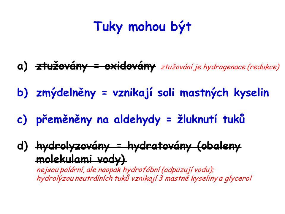 Tuky mohou být ztužovány = oxidovány ztužování je hydrogenace (redukce) zmýdelněny = vznikají soli mastných kyselin.