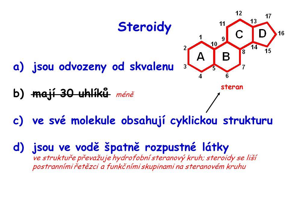 Steroidy jsou odvozeny od skvalenu mají 30 uhlíků méně