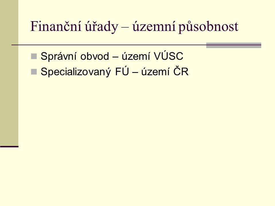 Finanční úřady – územní působnost