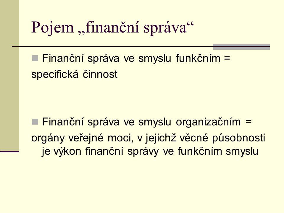 """Pojem """"finanční správa"""