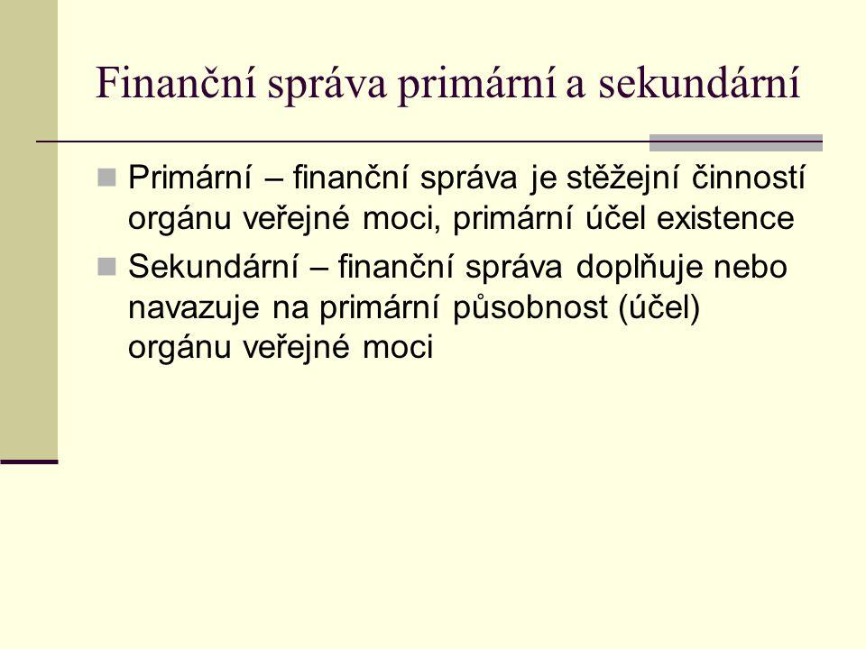 Finanční správa primární a sekundární