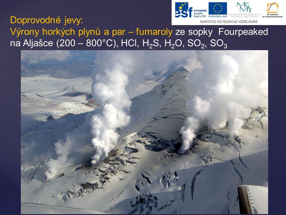Doprovodné jevy: Výrony horkých plynů a par – fumaroly ze sopky Fourpeaked na Aljašce (200 – 800°C), HCl, H2S, H2O, SO2, SO3.