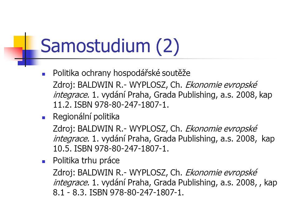 Samostudium (2) Politika ochrany hospodářské soutěže