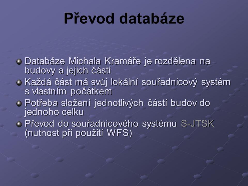 Převod databáze Databáze Michala Kramáře je rozdělena na budovy a jejich části. Každá část má svůj lokální souřadnicový systém s vlastním počátkem.