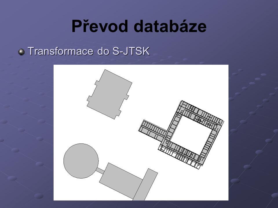 Převod databáze Transformace do S-JTSK