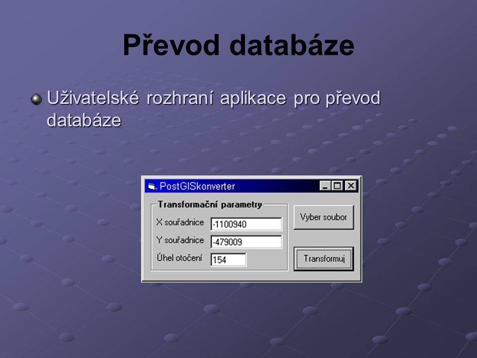 Převod databáze Uživatelské rozhraní aplikace pro převod databáze