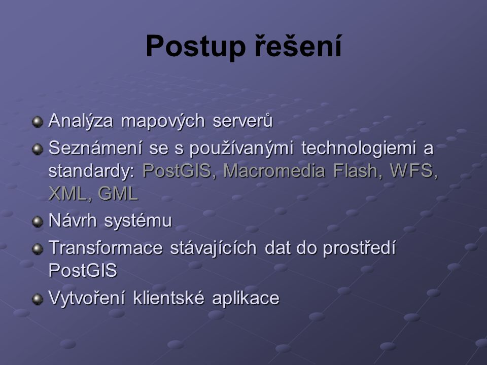 Postup řešení Analýza mapových serverů