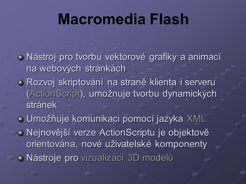 Macromedia Flash Nástroj pro tvorbu vektorové grafiky a animací na webových stránkách.