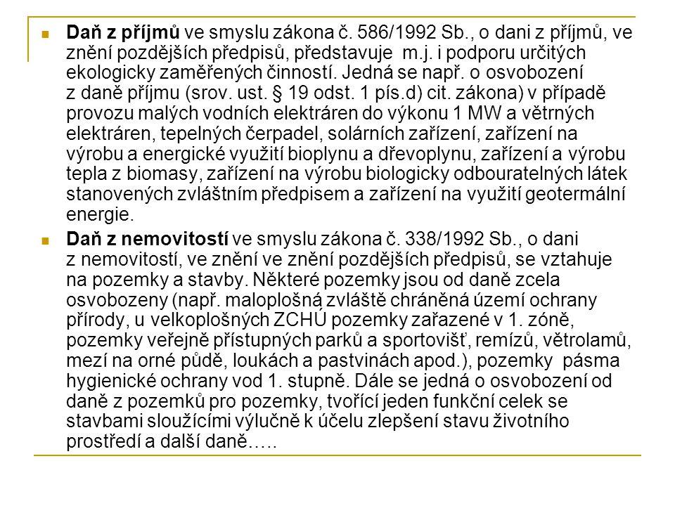 Daň z příjmů ve smyslu zákona č. 586/1992 Sb