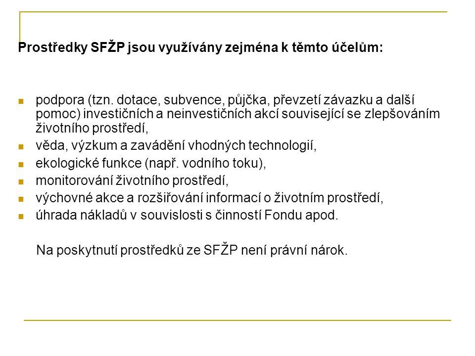 Prostředky SFŽP jsou využívány zejména k těmto účelům: