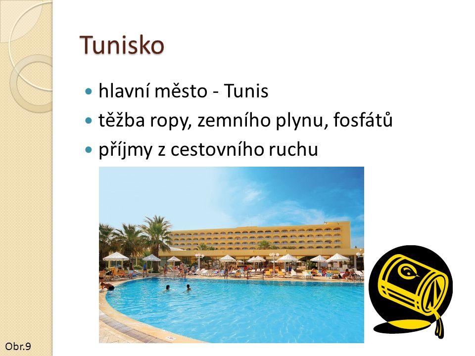 Tunisko hlavní město - Tunis těžba ropy, zemního plynu, fosfátů