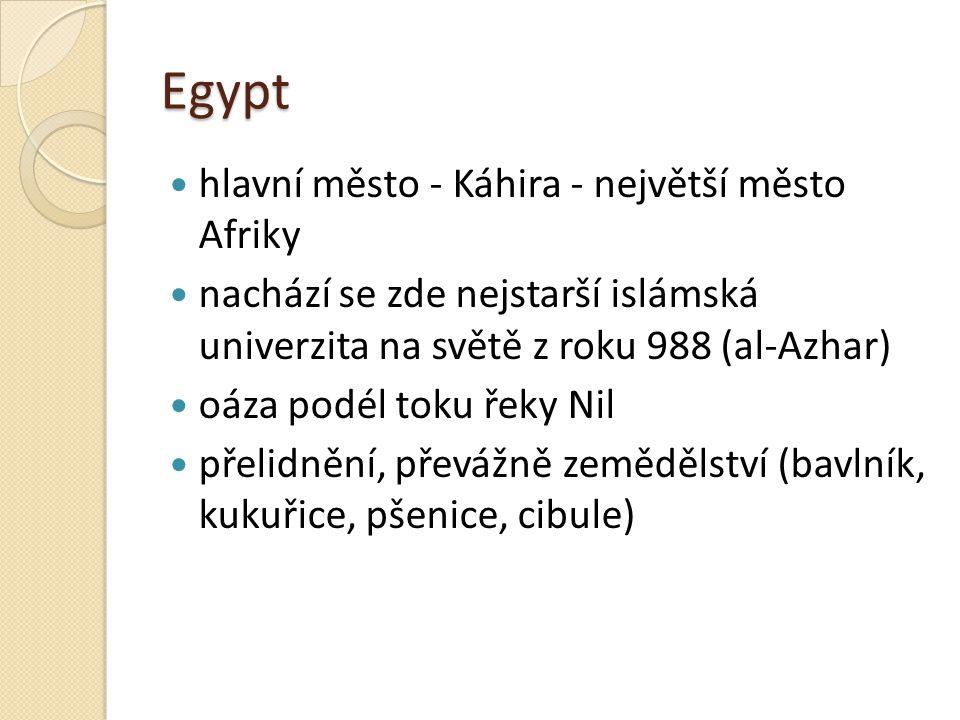 Egypt hlavní město - Káhira - největší město Afriky