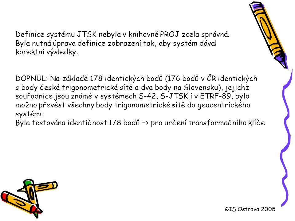 Definice systému JTSK nebyla v knihovně PROJ zcela správná.