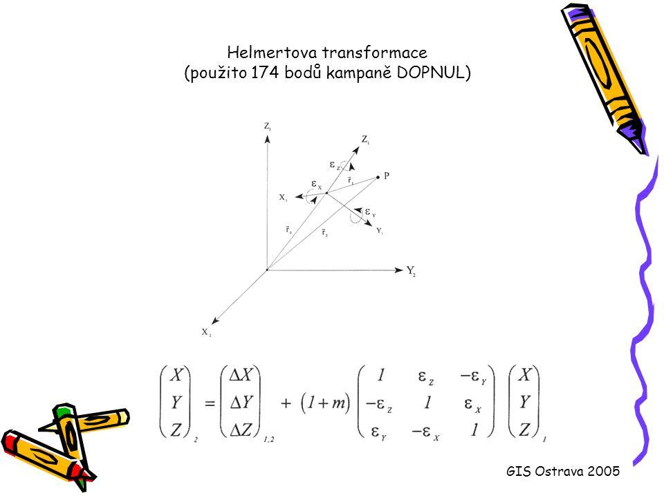 Helmertova transformace (použito 174 bodů kampaně DOPNUL)
