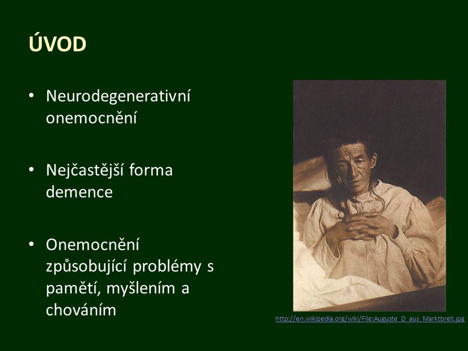 Úvod Neurodegenerativní onemocnění Nejčastější forma demence