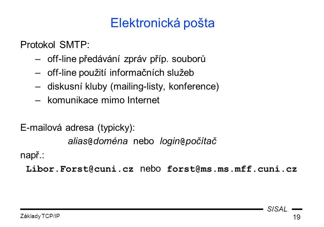 Elektronická pošta Protokol SMTP: