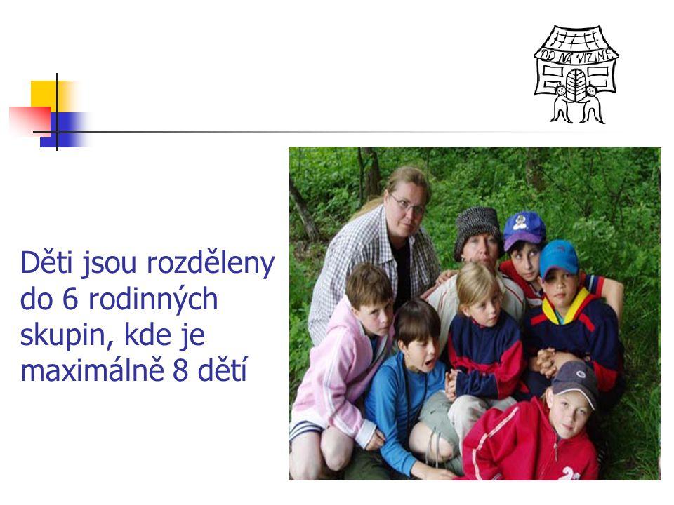 Děti jsou rozděleny do 6 rodinných skupin, kde je maximálně 8 dětí
