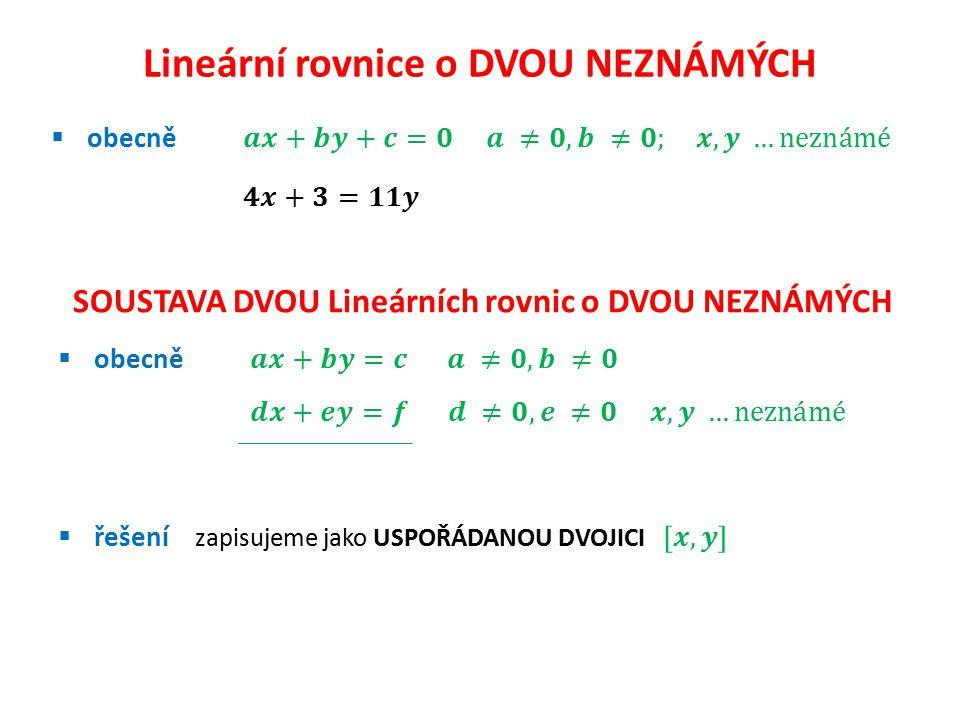 Lineární rovnice o DVOU NEZNÁMÝCH