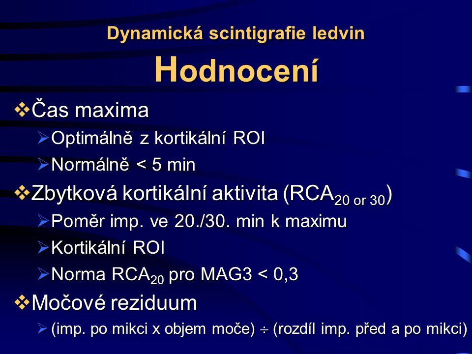 Dynamická scintigrafie ledvin Hodnocení