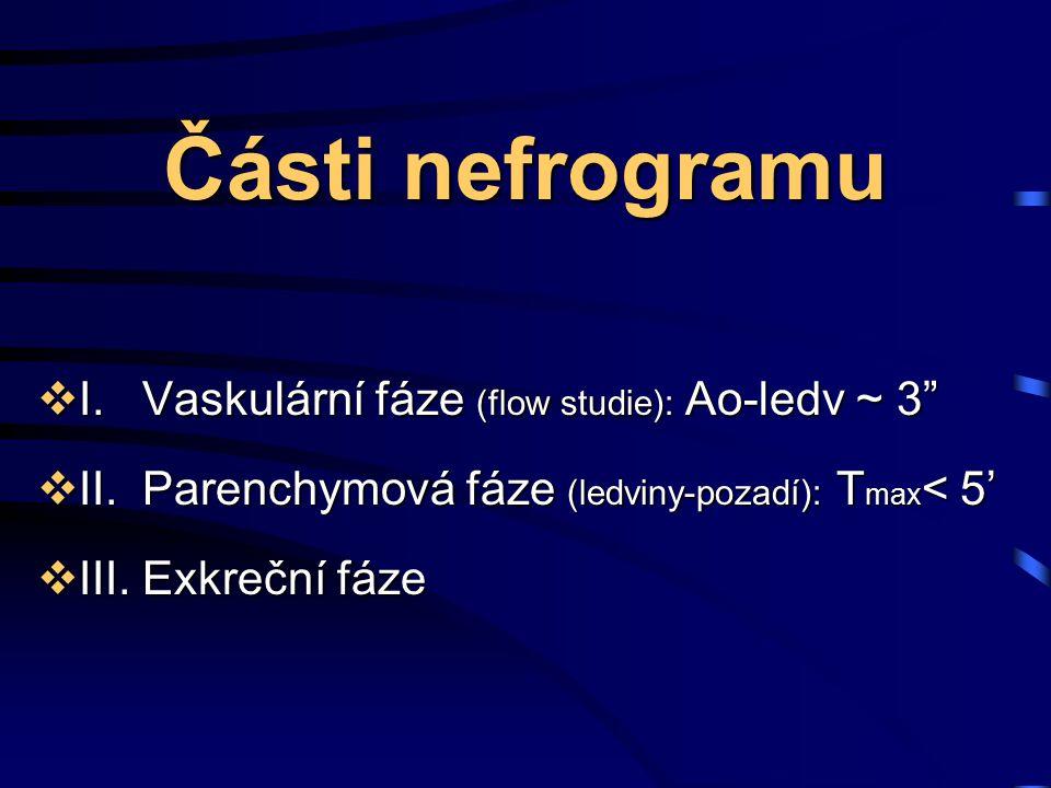 Části nefrogramu I. Vaskulární fáze (flow studie): Ao-ledv ~ 3
