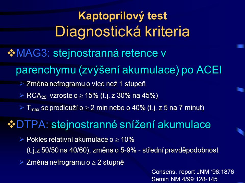 Kaptoprilový test Diagnostická kriteria