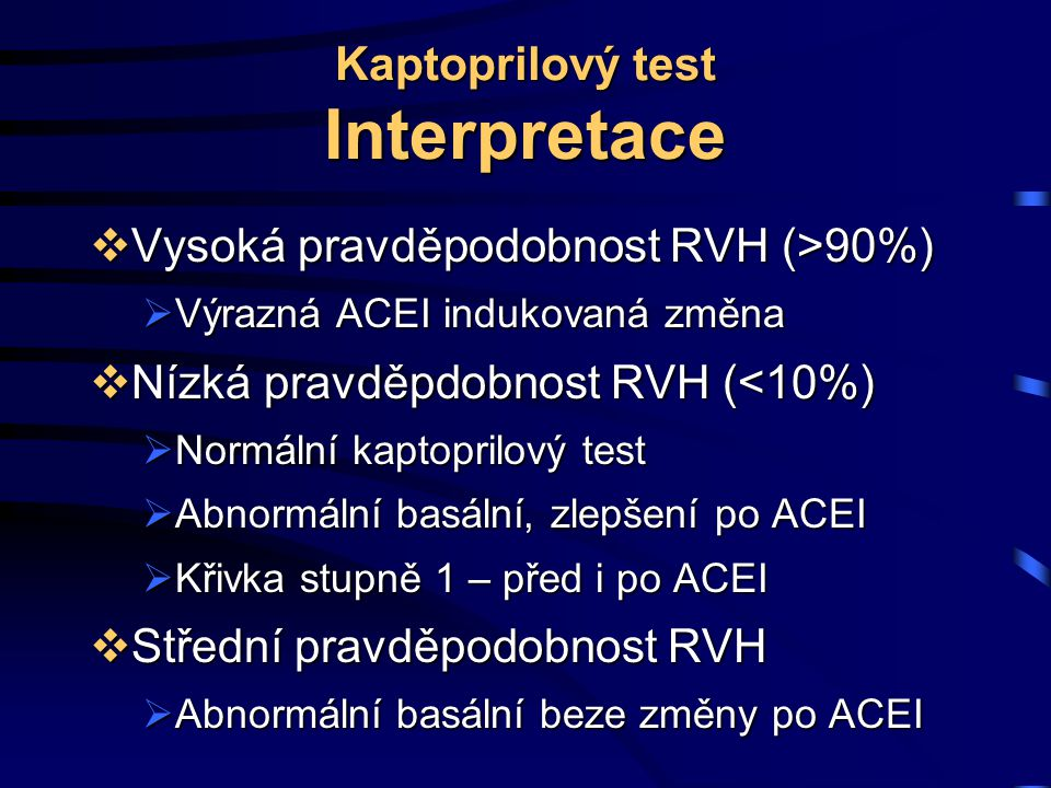 Kaptoprilový test Interpretace