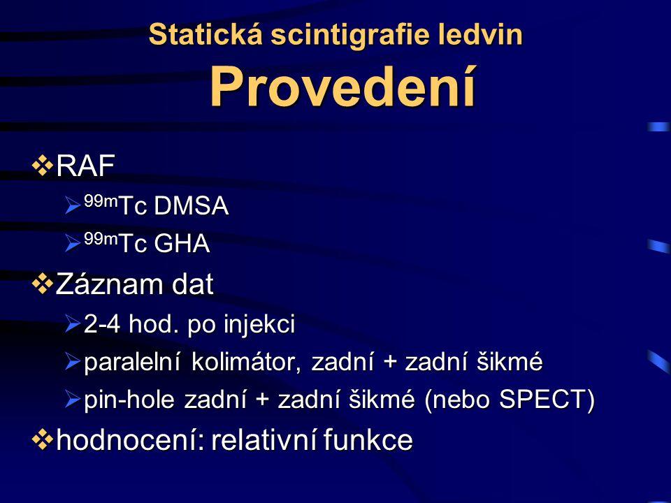 Statická scintigrafie ledvin Provedení