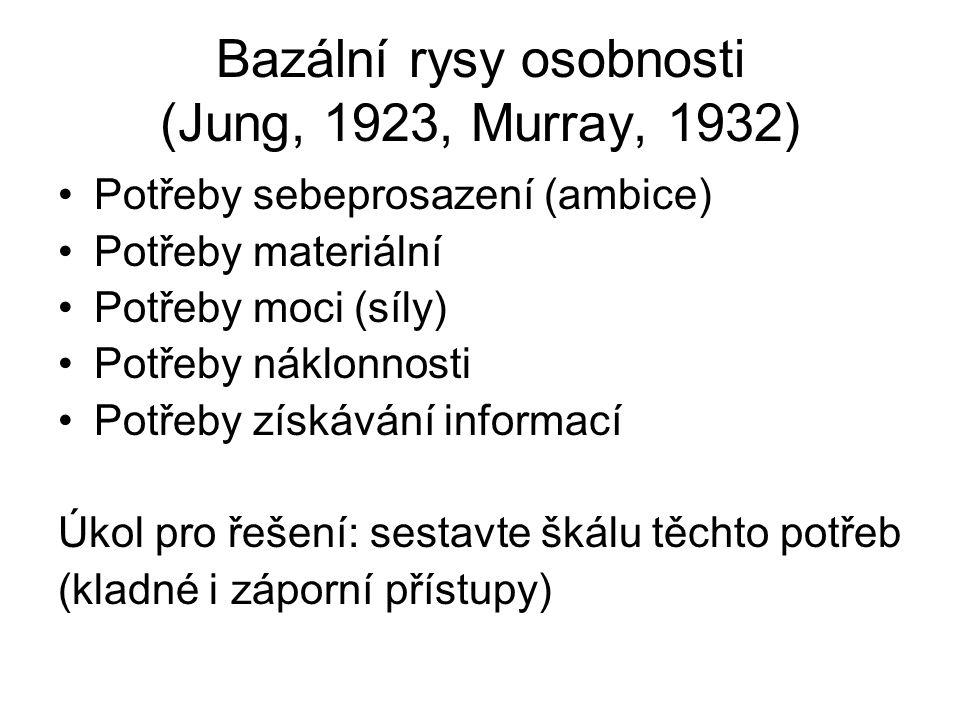 Bazální rysy osobnosti (Jung, 1923, Murray, 1932)
