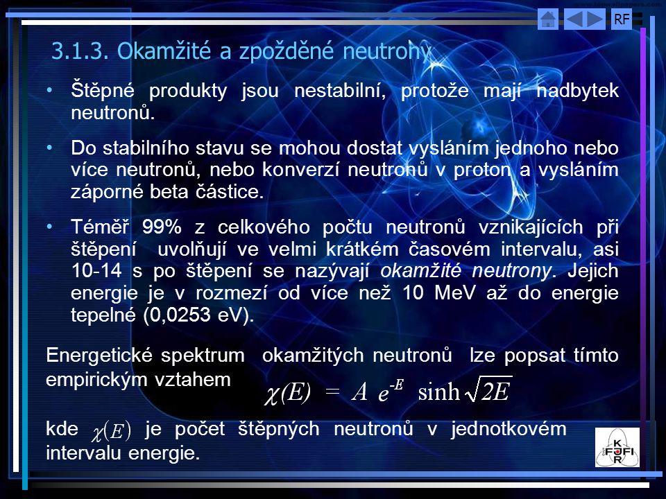 3.1.3. Okamžité a zpožděné neutrony