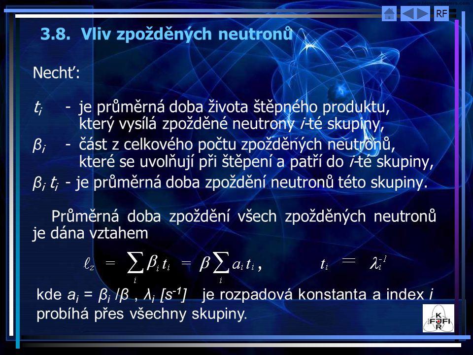 3.8. Vliv zpožděných neutronů
