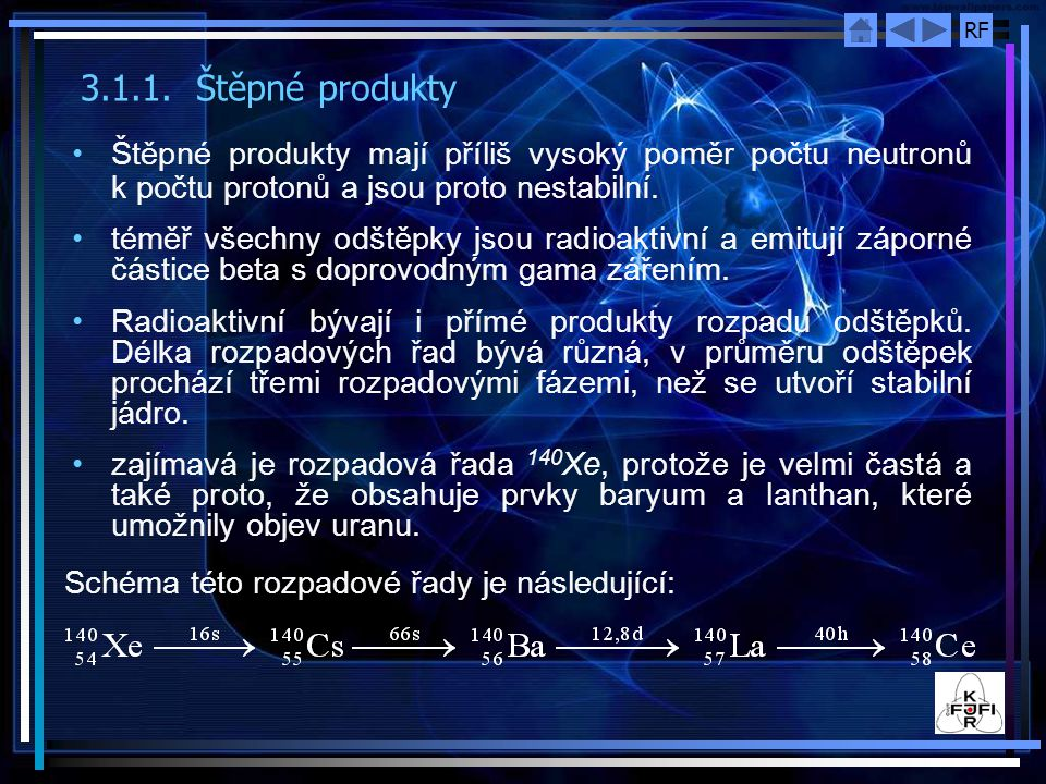 3.1.1. Štěpné produkty Štěpné produkty mají příliš vysoký poměr počtu neutronů k počtu protonů a jsou proto nestabilní.