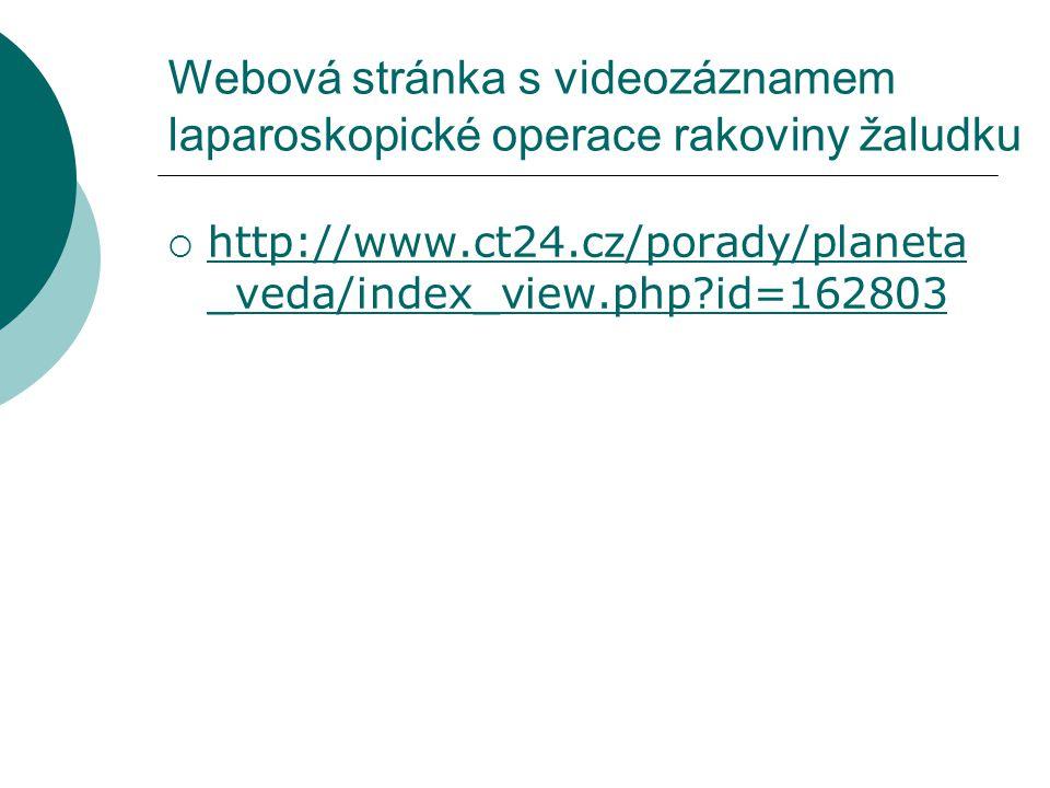 Webová stránka s videozáznamem laparoskopické operace rakoviny žaludku