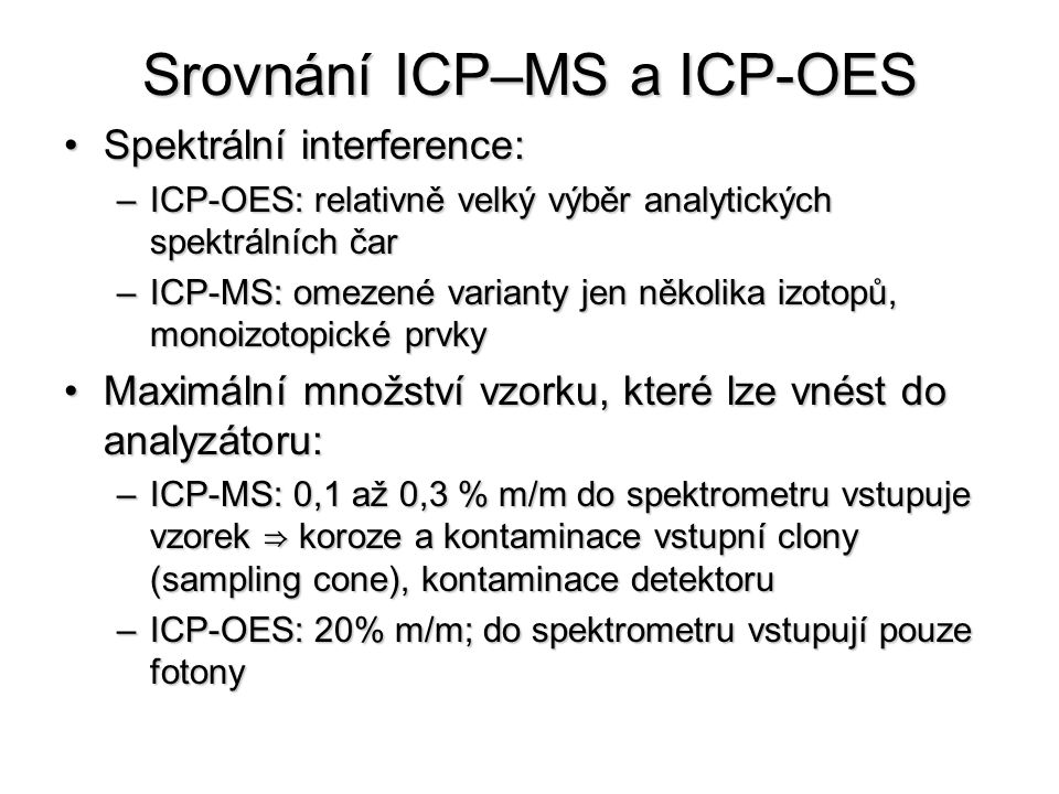 Srovnání ICP–MS a ICP-OES