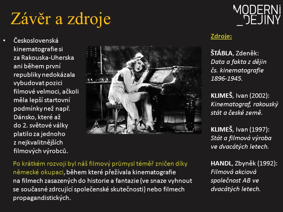 Závěr a zdroje Zdroje: ŠTÁBLA, Zdeněk: Data a fakta z dějin čs. kinematografie 1896-1945.