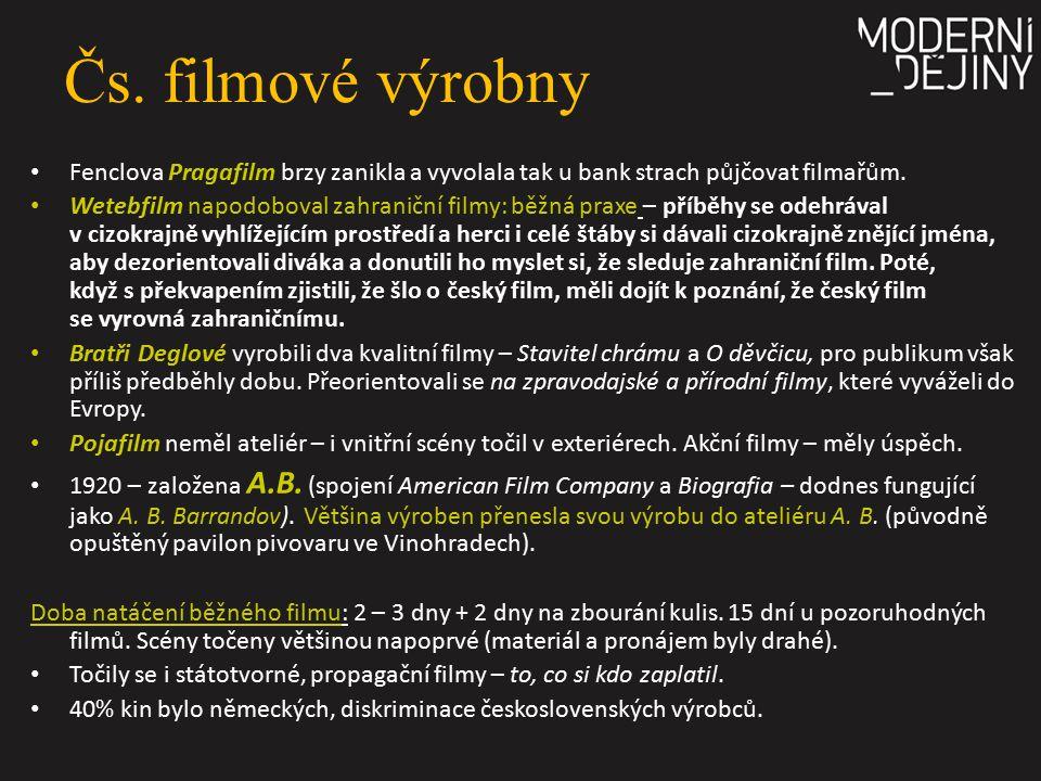 Čs. filmové výrobny Fenclova Pragafilm brzy zanikla a vyvolala tak u bank strach půjčovat filmařům.