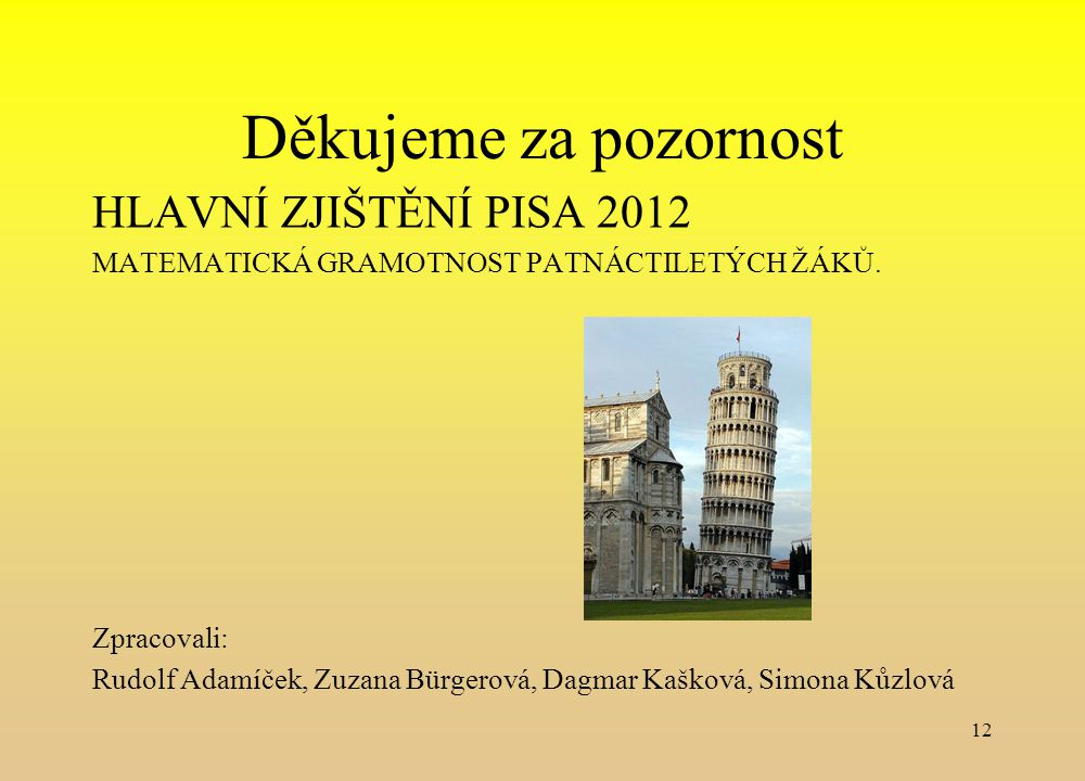 Děkujeme za pozornost HLAVNÍ ZJIŠTĚNÍ PISA 2012