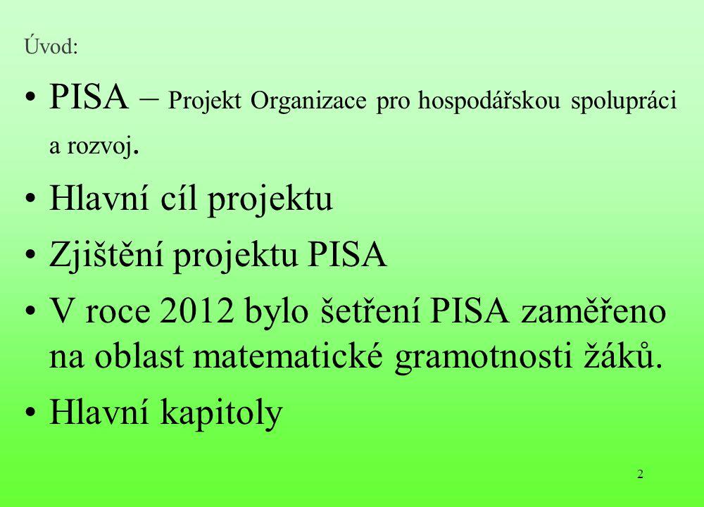 PISA – Projekt Organizace pro hospodářskou spolupráci a rozvoj.