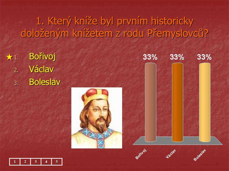 1. Který kníže byl prvním historicky doloženým knížetem z rodu Přemyslovců