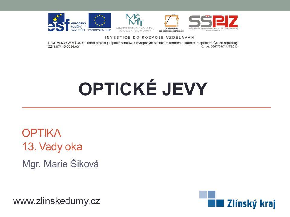 OPTICKÉ JEVY OPTIKA 13. Vady oka Mgr. Marie Šiková www.zlinskedumy.cz
