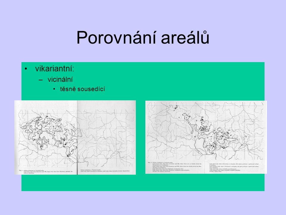 Porovnání areálů vikariantní: vicinální těsně sousedící